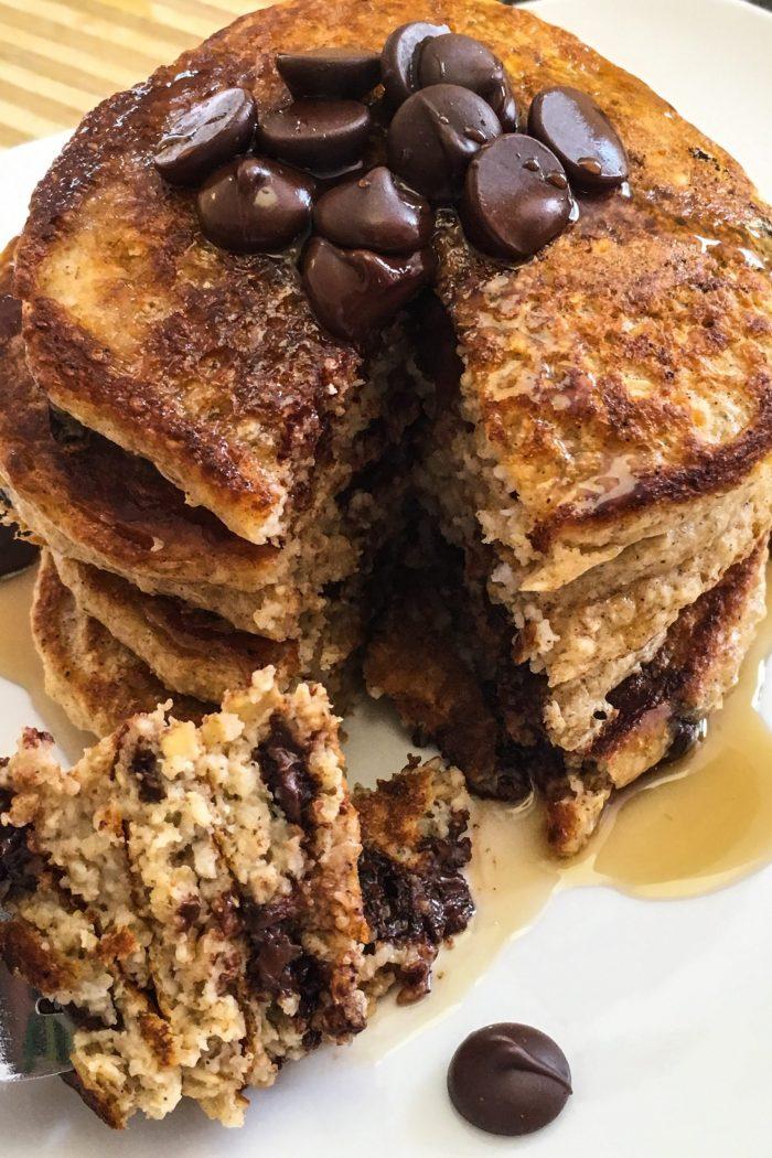 Dark Chocolate Oatmeal Pancakes
