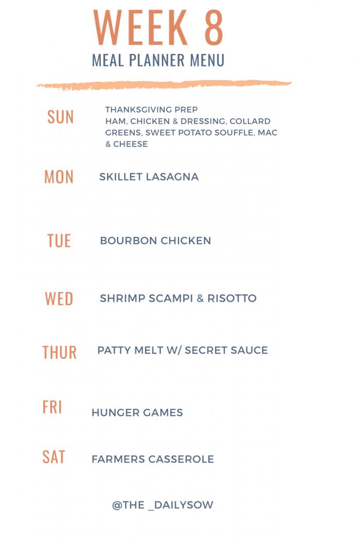 Week 8 Meal Plan