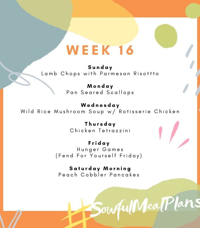 Week 16 Meal Plan